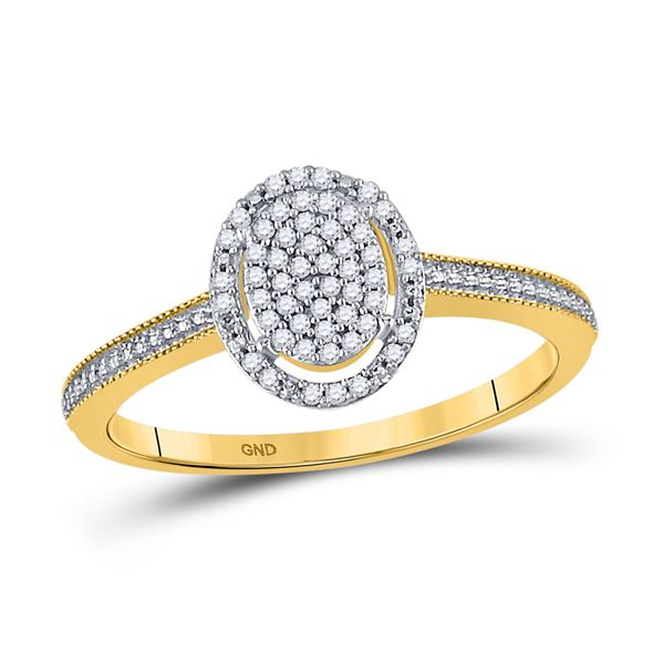 Diamond Oval Cluster Ring 1/8 Cttw 10kt Yellow Gold