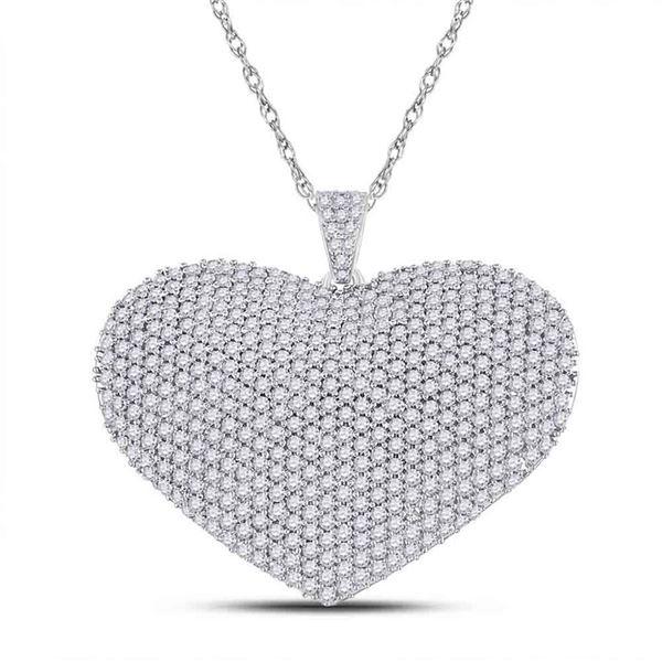 Diamond Charmed Heart Pendant 3 Cttw 14kt White Gold