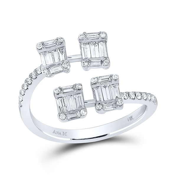 Baguette Diamond Bisected Fashion Ring 5/8 Cttw 14kt White Gold
