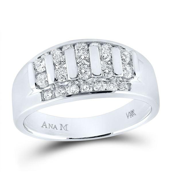 Mens Diamond Wedding Channel Set Band Ring 1 Cttw 14kt White Gold