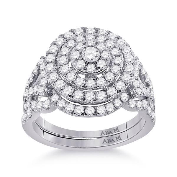 Diamond Bridal Wedding Ring Band Set 1-1/3 Cttw 14kt White Gold