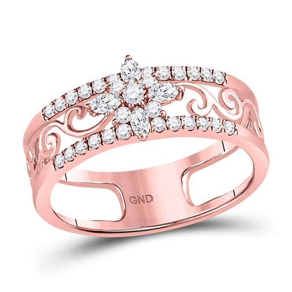 Marquise Diamond Cluster Curl Scroll Band Ring 1/2 Cttw 14kt Rose Gold