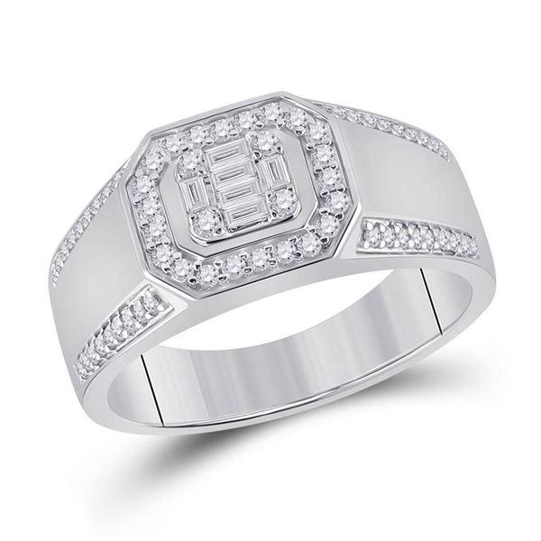 Baguette Diamond Octagon Cluster Ring 1/2 Cttw 14kt White Gold