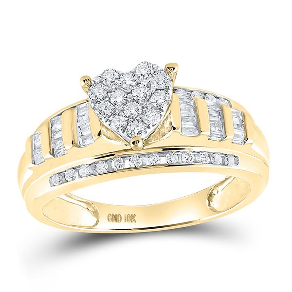 Diamond Heart Bridal Wedding Engagement Ring 1/2 Cttw 10kt Yellow Gold
