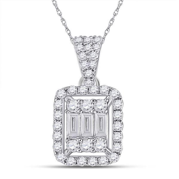 Baguette Diamond Cluster Pendant 1/2 Cttw 14kt White Gold