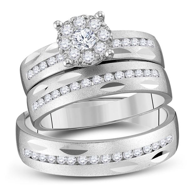 His Hers Diamond Cluster Matching Wedding Set 3/4 Cttw 14kt White Gold