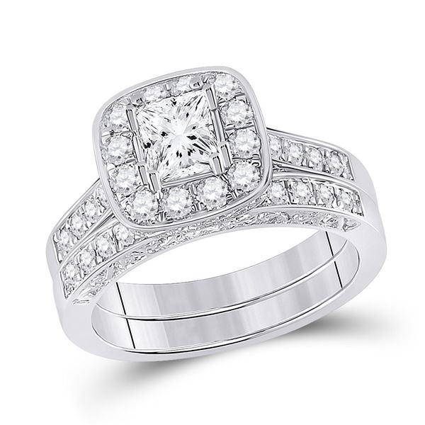 Princess Diamond Bridal Wedding Ring Band Set 1-5/8 Cttw 14kt White Gold