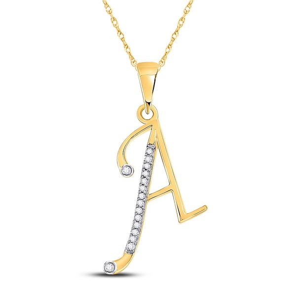 Diamond A Initial Letter Pendant 1/12 Cttw 10kt Yellow Gold