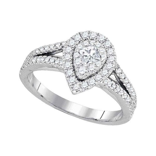 Princess Diamond Pear Cluster Bridal Wedding Engagement Ring 3/4 Cttw 14kt White Gold