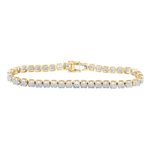 Mens Diamond Cluster Fashion Bracelet 3 Cttw 10kt Yellow Gold