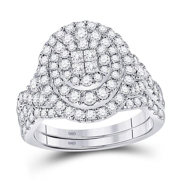 Princess Diamond Bridal Wedding Ring Band Set 1-1/4 Cttw 14kt White Gold