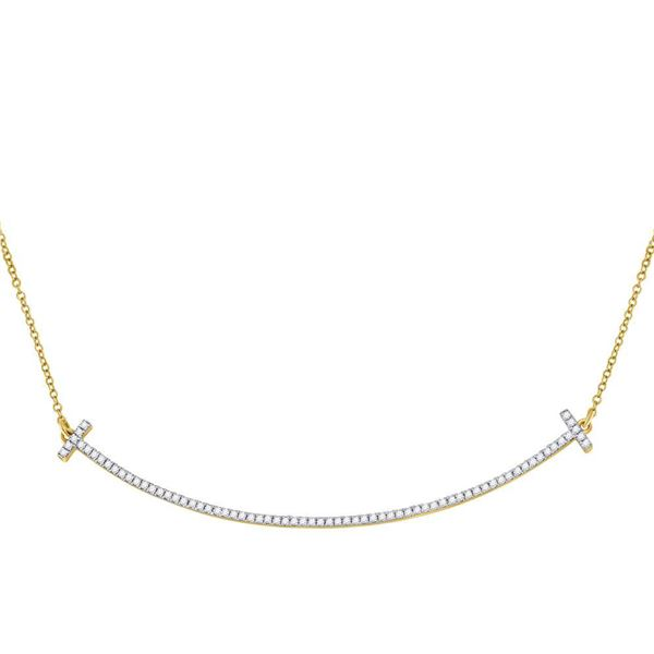 Diamond Curved Bar Necklace 1/3 Cttw 10kt Yellow Gold