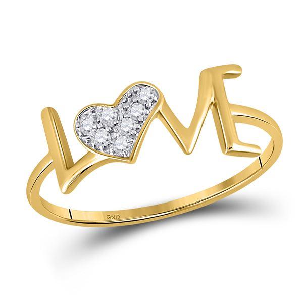 Diamond Heart Love Ring 1/20 Cttw 10kt Yellow Gold