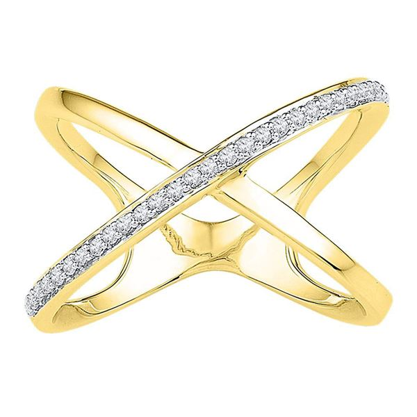 Diamond Negative Space Crossover Band Ring 1/6 Cttw 10kt Yellow Gold