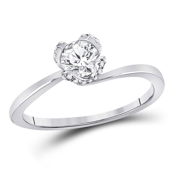 Diamond Solitaire Bridal Wedding Engagement Ring 5/8 Cttw 14kt White Gold
