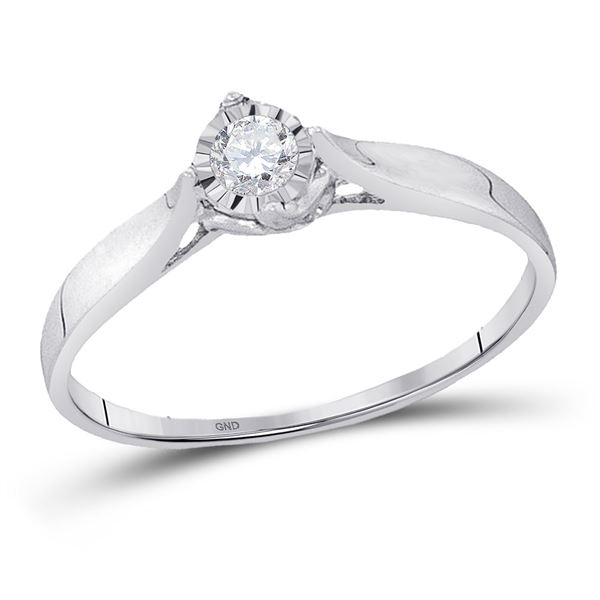 Diamond Solitaire Promise Ring 1/12 Cttw 10kt White Gold