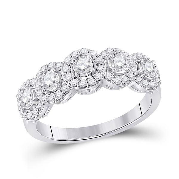 Diamond 5-Stone Anniversary Ring 1 Cttw 14kt White Gold