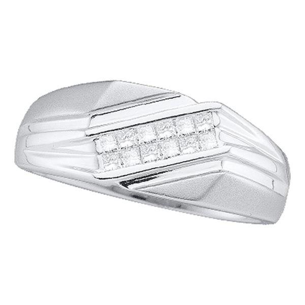 Mens Princess Diamond Diagonal Band Ring 1/3 Cttw 14kt White Gold