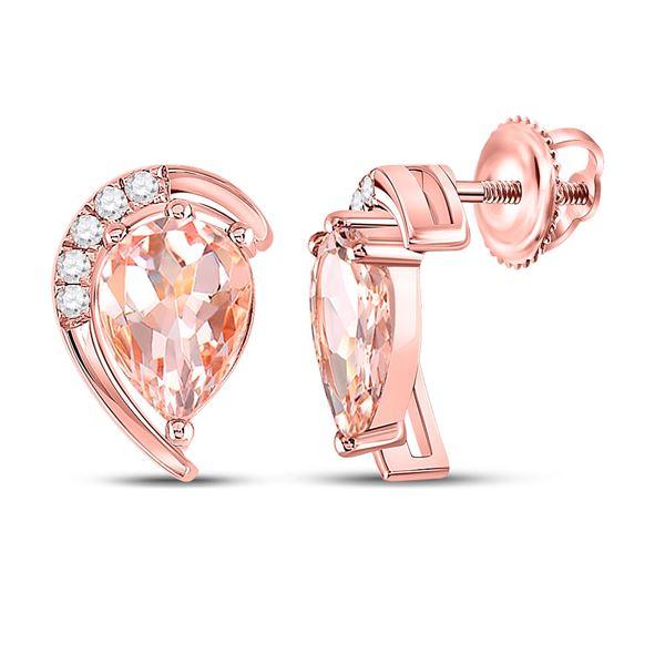 Pear Morganite Diamond Stud Earrings 1-7/8 Cttw 10kt Rose Gold