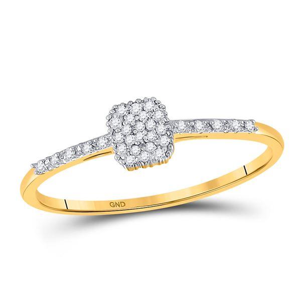 Diamond Slender Cluster Ring 1/20 Cttw 10kt Yellow Gold