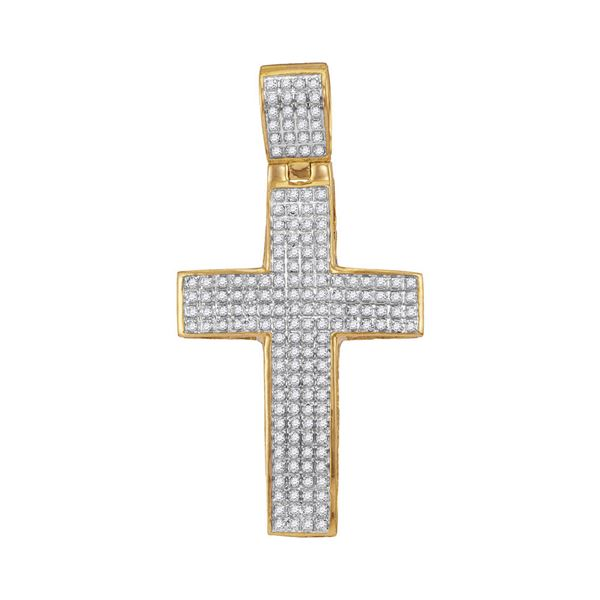 Mens Diamond Roman Cross Charm Pendant 1/2 Cttw 10kt Yellow Gold