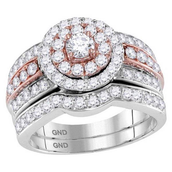 Diamond Bridal Wedding Ring Band Set 1-1/2 Cttw 14kt Two-tone Gold