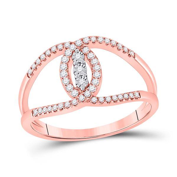 Diamond Fashion 3-stone Ring 1/5 Cttw 14kt Rose Gold
