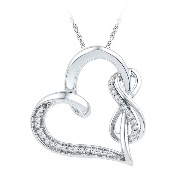 Diamond Linked Infinity Heart Pendant 1/8 Cttw Sterling Silver