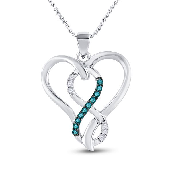Blue Color Enhanced Diamond Heart Infinity Pendant 1/10 Cttw Sterling Silver