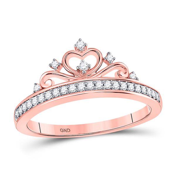 Diamond Crown Tiara Band Ring 1/6 Cttw 10kt Rose Gold