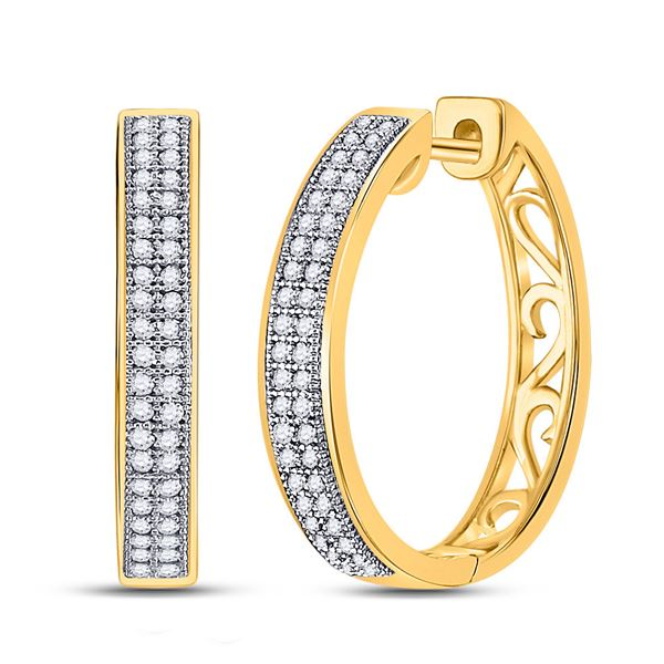 Diamond Double Row Pave Hoop Earrings 1/4 Cttw 10kt Yellow Gold