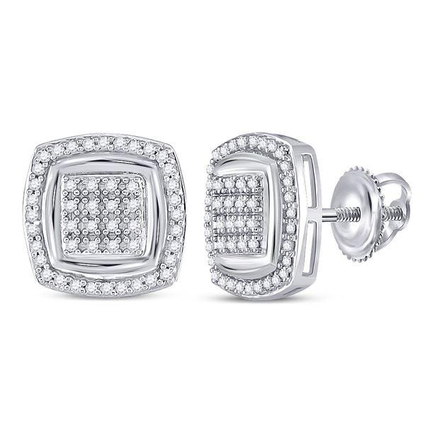 Diamond Square Earrings 1/4 Cttw 10kt White Gold