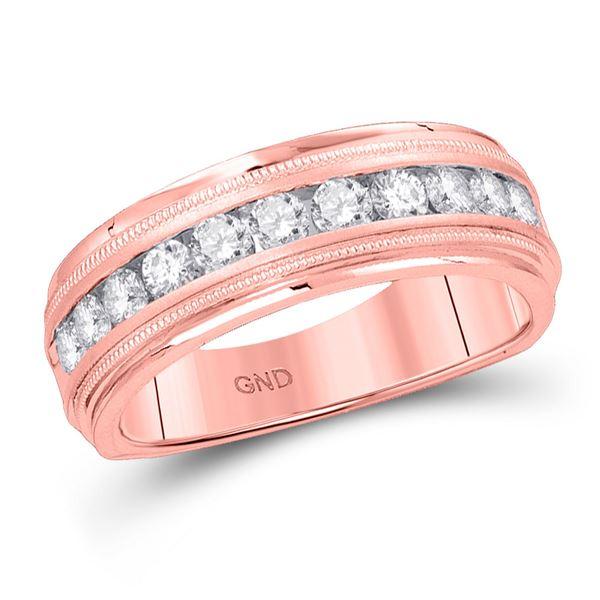 Mens Diamond Wedding Single Row Band Ring 1/4 Cttw 10kt Rose Gold