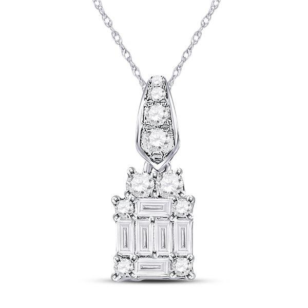 Baguette Diamond Fashion Cluster Pendant 1/3 Cttw 14kt White Gold