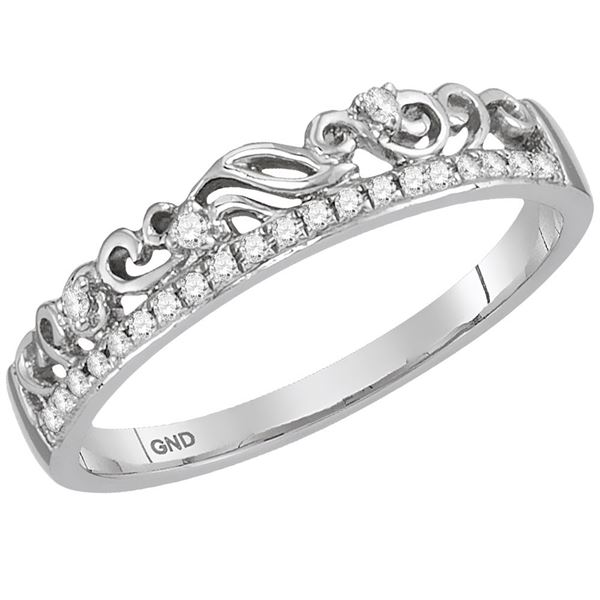 Diamond Stackable Band Ring 1/12 Cttw 14kt White Gold