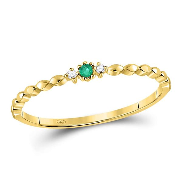 Emerald Solitaire Diamond-accent Stackable Ring .03 Cttw 10kt Yellow Gold
