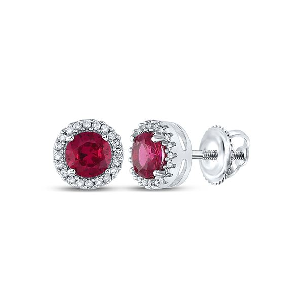 Lab-Created Ruby Diamond Stud Earrings 1-1/3 Cttw 10kt White Gold