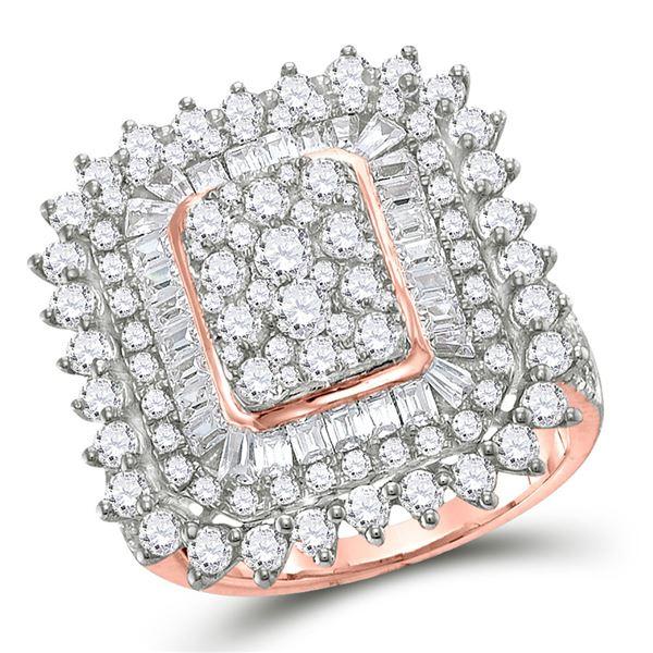 Baguette Diamond Cluster Ring 3-1/2 Cttw 10kt Rose Gold
