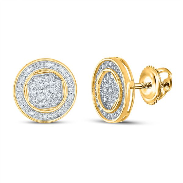 Mens Diamond Circle Earrings 1/4 Cttw 10kt Yellow Gold