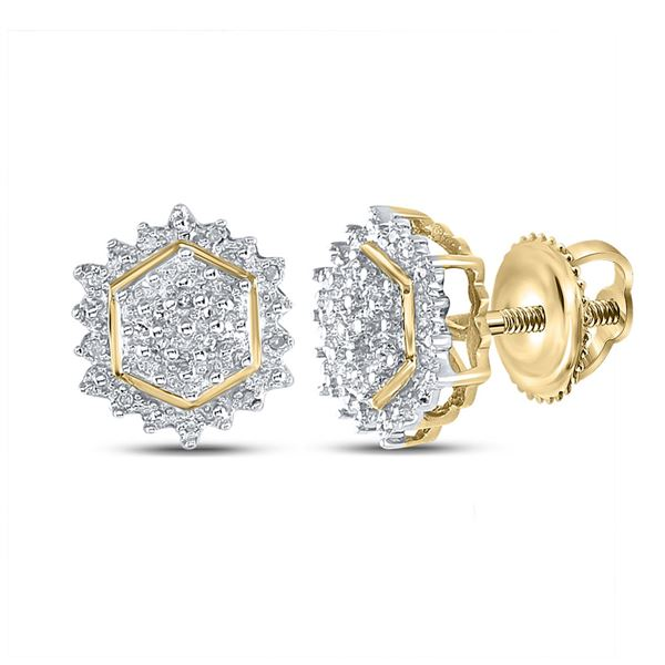 Diamond Hexagon Earrings 1/10 Cttw Yellow-tone Sterling Silver
