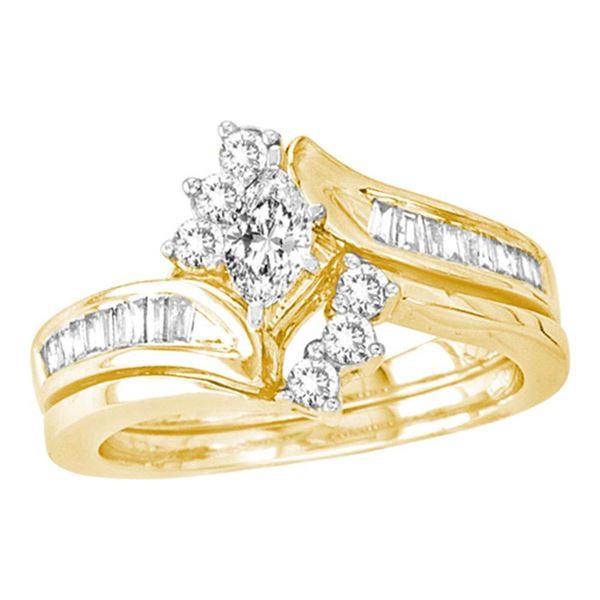 Marquise Diamond Bridal Wedding Ring Band Set 5/8 Cttw 14kt Yellow Gold