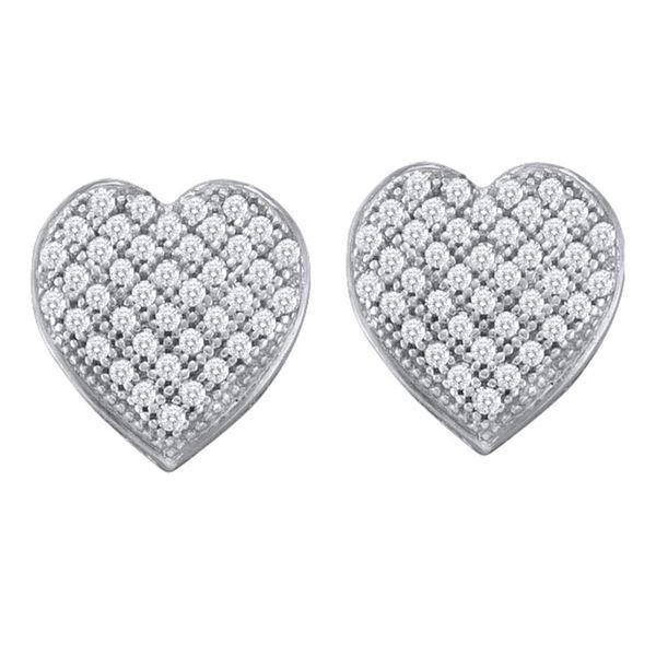 Diamond Heart Earrings 1/4 Cttw 10kt White Gold
