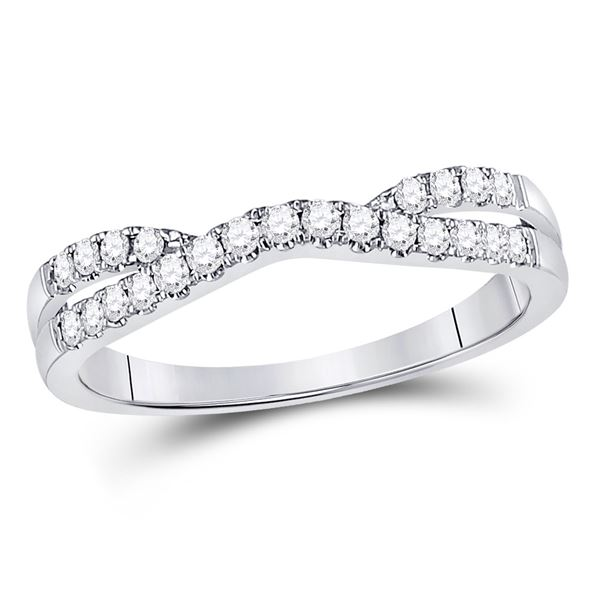 Diamond Ring Contour Enhancer Wedding Band 1/4 Cttw 14kt White Gold