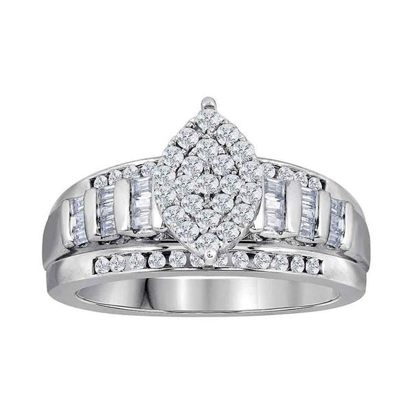 Diamond Oval Cluster Bridal Wedding Engagement Ring 2 Cttw 10kt White Gold