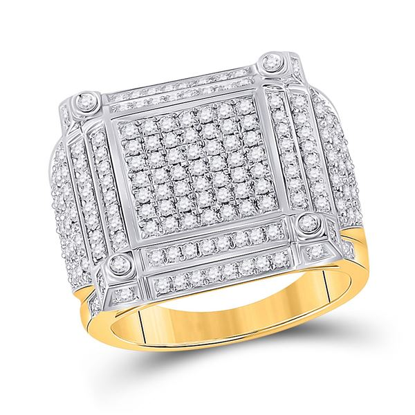 Mens Diamond Square Cluster Ring 1-3/8 Cttw 14kt Yellow Gold