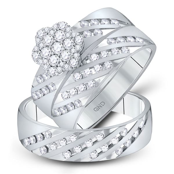 His Hers Diamond Cluster Matching Wedding Set 7/8 Cttw 14kt White Gold