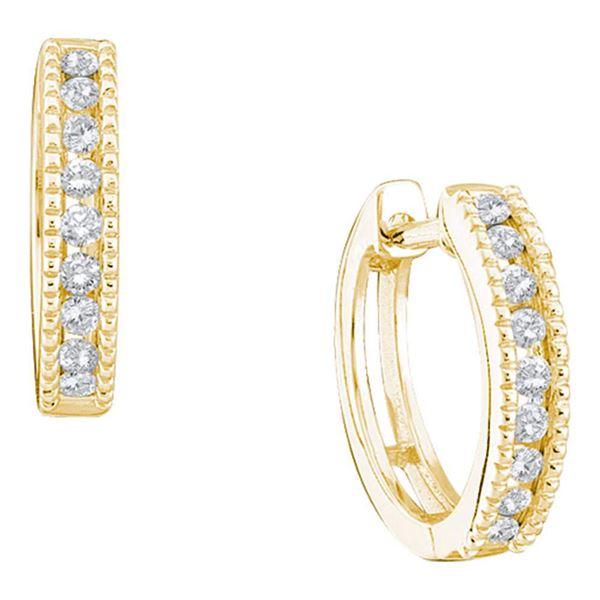 Diamond Milgrain Single Row Hoop Earrings 1/4 Cttw 14kt Yellow Gold