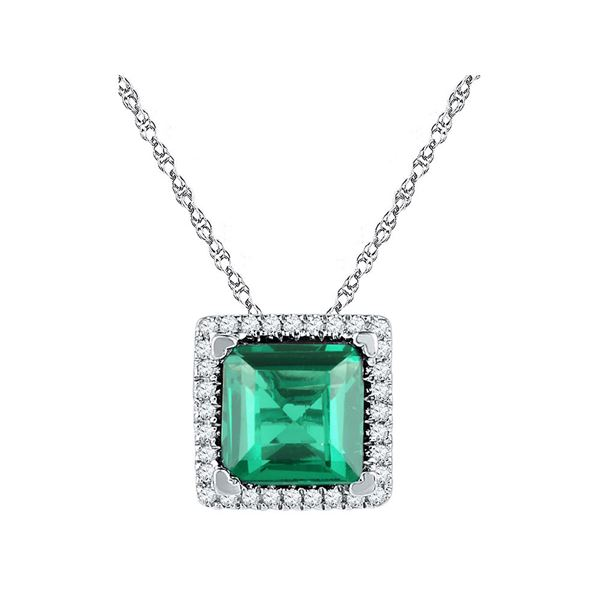 Princess Lab-Created Emerald Square Pendant 1-3/4 Cttw 10kt White Gold