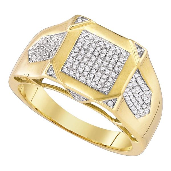 Mens Diamond Square Cluster Ring 3/8 Cttw 10kt Yellow Gold