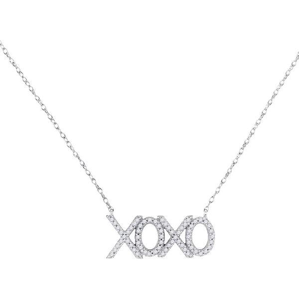 Diamond XOXO Hugs Kisses Letter Necklace 1/5 Cttw 10kt White Gold